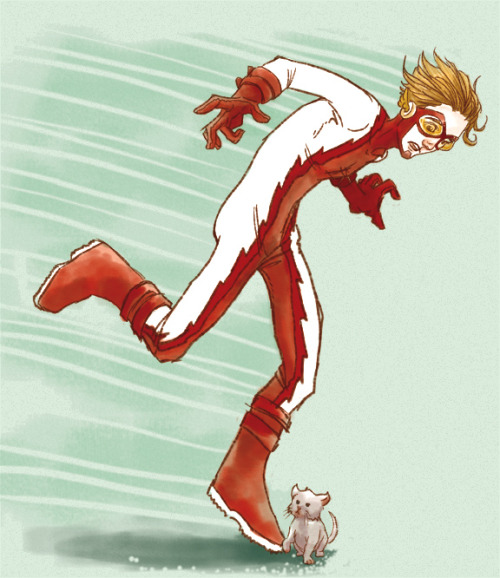 [image: old fanart by glockgal. Impulse aka Bart Allen in mid-run, coming to a shocked trip-stop over a crossing kitten]   oodelollie:  - art by glockgal   LOL I love it when my art randomly pops up on tumblr. And oldie but a goodie. XD