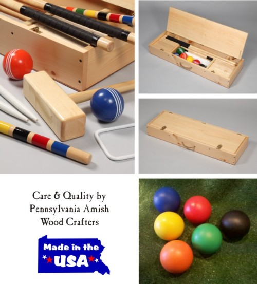 Unique Volume/Group Purchase Web Sale: Handcrafted Amish Croquet Sets. Best Croquet Set Value in US… JUST GOT BETTER.  Save $50 on Cased Croquet Set! www.croquetyourway.com and click on CRQ Croquet Source