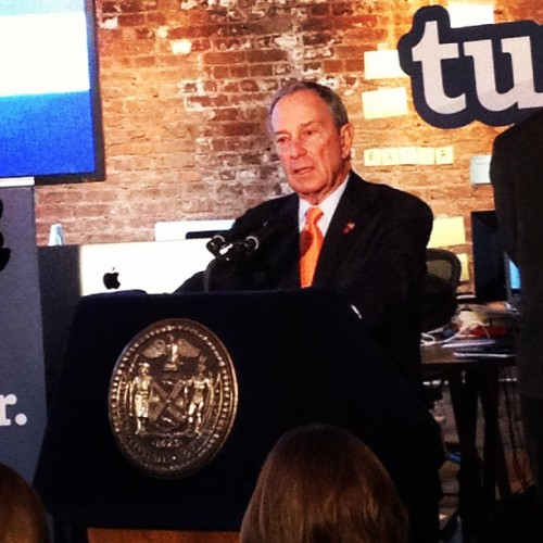 nycgov:  Mayor Bloomberg announcing the new citywide social media channels at Tumblr's HQ. Like NYC on Facebook at facebook.com/nycgov Follow @nycgov on Twitter at twitter.com/nycgov Get the NYC badge on Foursquare foursquare.com/nycgov Follow NYC on Tumblr nycgov.tumblr.com