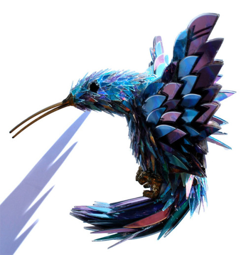 urhajos:  Animal Sculptures of Shattered CDs by Sean Avery