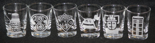 thedrunkenmoogle:  Doctor Who Shot Glass Setby Fanboy Glass on Etsy$42 for the set or $8 for individuals   Paging Tom & Roisin, paging Tom & Roisin…