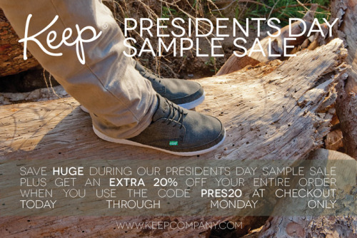keepcompany:  Save HUGE during our President's Day sample sale. PLUS get an extra 20% off your entire order when you use the code PRES20 at checkout. The weekend long sale is today through Monday! Check it out now!   Vegansaurus loves shoes! Fancy shoes, casual shoes, ridiculous shoes, sensible shoes: We love to make our feet look their best. And Keep makes stylish, durable, charming vegan shoes to keep your feet happy. Do it to it! (Also: Hi, Keep's tumblr! We love you guys!)
