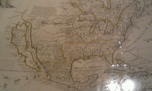Historic map of North America (cerca 1751) at U.S. State Dept. Note Places Unknown and California is an island.