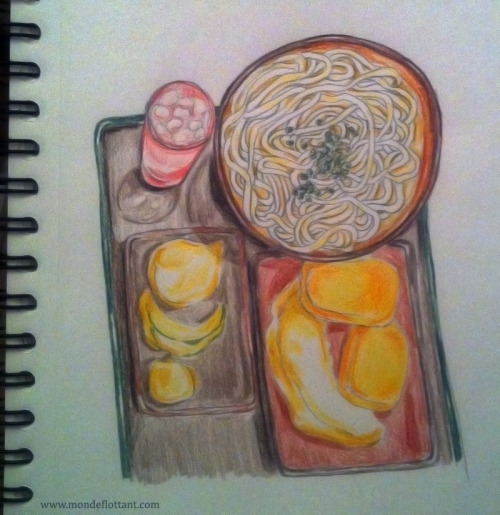 A doodle about a pregnancy craving I'm having right now : udon, potato korokke & vegetables tempura… [Grossesse : Envies]
