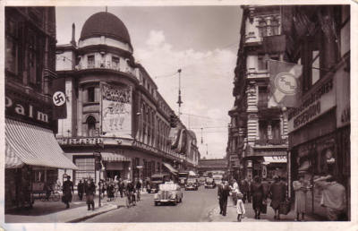 Postcard of Friedrichstrasse, Berlin with Central Hotel and Wintergarten Variete. ca. 1933-1944.
