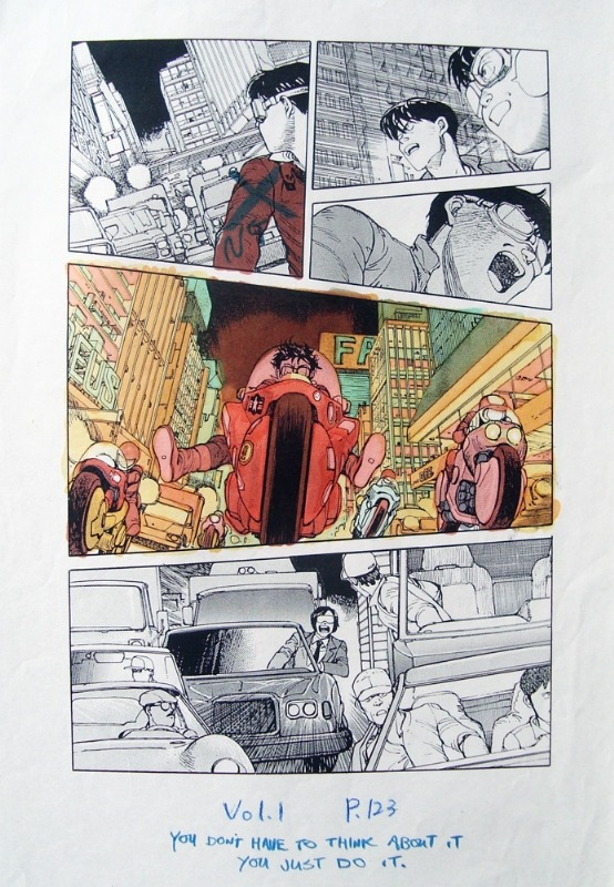 This is an extremely rare color guide hand colored by Katsuhiro Otomo himself. This was one of a select few pages that was done to give the Akira comic book colorist Steve Oliff an example on how Otomo wanted the look of the book to be colored.