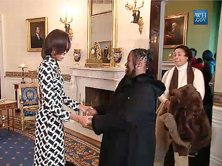 """Surprise! Welcome to my house."" First Lady Michelle Obama, shocking a stream of White House tour guests with a friendly greeting"