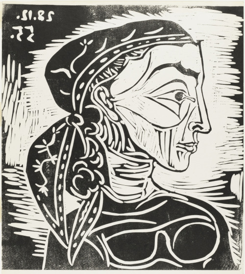 Pablo Picasso Profile of Jacqueline With a Scarf 1955, Linoleum cut