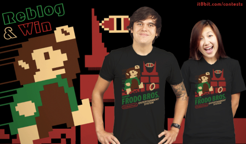 "it8bit:  Win Super Frodo Bros. Shirts! Two winners will each receive a Yetee ""Super Frodo Bros."" T-shirt designed by our very own Pacalin. These shirts are completely sold out and the only way to get one is here! Simply reblog this post to enter (one entry per blog). We will randomly select two winners on Thursday, February 23rd, 2012."