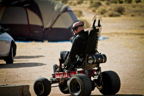 "falloutgallery:  Big Bad Lil' Red Wagon at Wasteland Weekend 2010 [editor's note: the use of a vehicle (other than a vertibird) is not really ""Fallout"" but I was personally so impressed by how this was crafted out of a child's wagon that I wanted to share it.]  Vertibird… OR A Chryslus Highwayman."