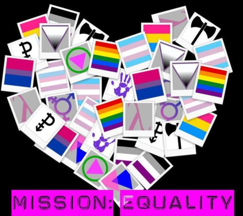 "Please support by clicking ""reblog"" instead of ""like"" Name: Mission: Equality Purpose: To spread education, awareness, and support for the LGBTQ+ community. Who: Married military father of three who believes everyone has the right to love like he can (To love openly, without restrictions). Fights for equality, and believes that no one should have less rights than another based off sex, gender, love, appearance, or any one of ""society's"" blurred preferences. Features: Live chat, resource center, facebook and twitter sync, and much more coming soon (including indexed ""tag"" system) Want to show support for Mission: Equality? Simply ""repost/reblog"" and follow if you do not already do so. Thanks for any support! Stay beautiful!  -Joey (M:E)"
