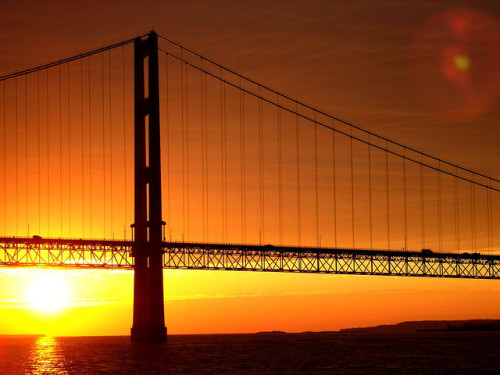 Mackinac Bridge at Sunset by AdamMI88 on Flickr.
