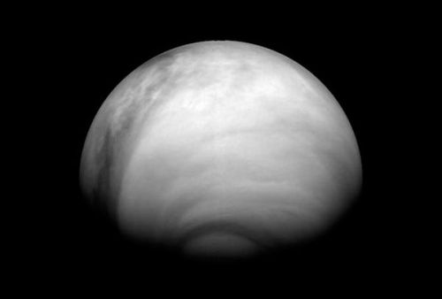 the-star-stuff:  Venus Spinning Slower Than Thought—Scientists Stumped  Mysterious decrease could affect future exploration missions.  Venus is spinning even slower than astronomers thought, according to new data from a European space probe. In the early 1990s scientists with NASA's Magellan mission calculated that a single rotation of Venus takes 243.015 Earth days, based on the speed of surface features passing beneath the orbiting spacecraft. But scientists now mapping Venus's surface with the European Space Agency's Venus Express orbiter were surprised to find the same features up to 12.4 miles (20 kilometers) from where they were expected to be, based on the previous measurements. According to the new data, Venus is rotating 6.5 minutes slower than it was 16 years ago, a result that's been found to correlate with long-term radar observations taken from Earth. Image courtesy MPS/DLR/IDA/ESA  Wild.