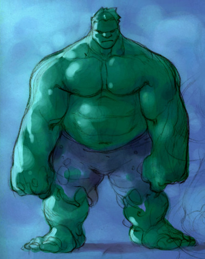 I would fall for a grumpy Hulk with a little pooch where he keeps his extra cookies. fyeahsuperheroes:  by Keron Grant