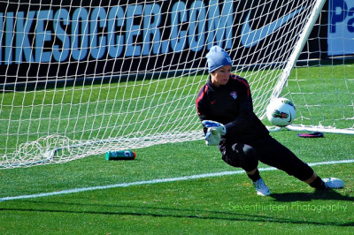Ashlyn Harris makes a save during USWNT open practice on Feb. 10 in Frisco, TX.