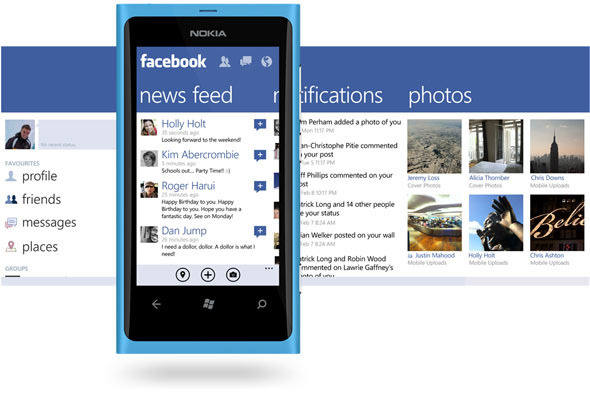 Facebook For Windows Phone: Brand New Look & More Features  Facebook for Windows Phone makes it easy to stay connected and share information with friends. You can post status updates, receive Live Tile updates, check your news feed, review upcoming events, check in to places, manage your inbox, upload photos, publish notes, accept friend requests, pin Places and Messages as Tiles, and look at your friends' photos, walls and info. And don't forget about Facebook Chat – it's built into the Messaging app on your Windows Phone. New for version 2.3:  view Groups, visit Pages, set post privacy, view who Liked your posts, filter your Feed, view optional banner photos (turn on in settings), and enjoy the updated navigation. For application status and other information, please check http://on.fb.me/fbwp7Home  (download Facebook for Windows Phone)