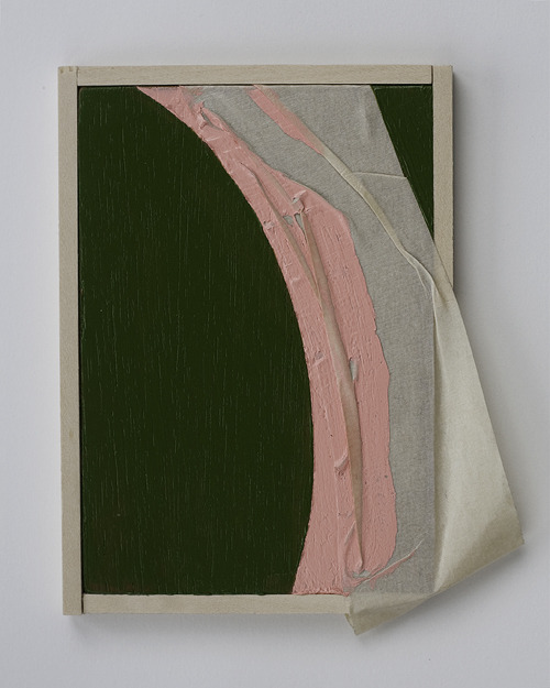 justyn hegreberg pink green and masking tape four, 2012 5 1/2 inches by 5 inches acrylic, masking tape, plywood, wood