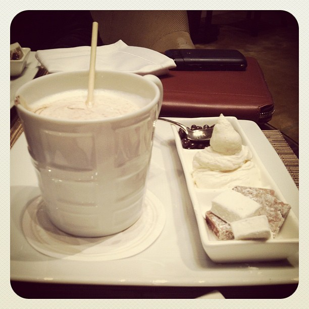 Hot chocolate at the Four Seasons between appts #attheshows #nyfw  (Taken with instagram)