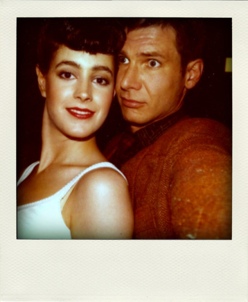 filmcrack:  Sean Young and Harrison Ford behind the scenes in Blade Runner