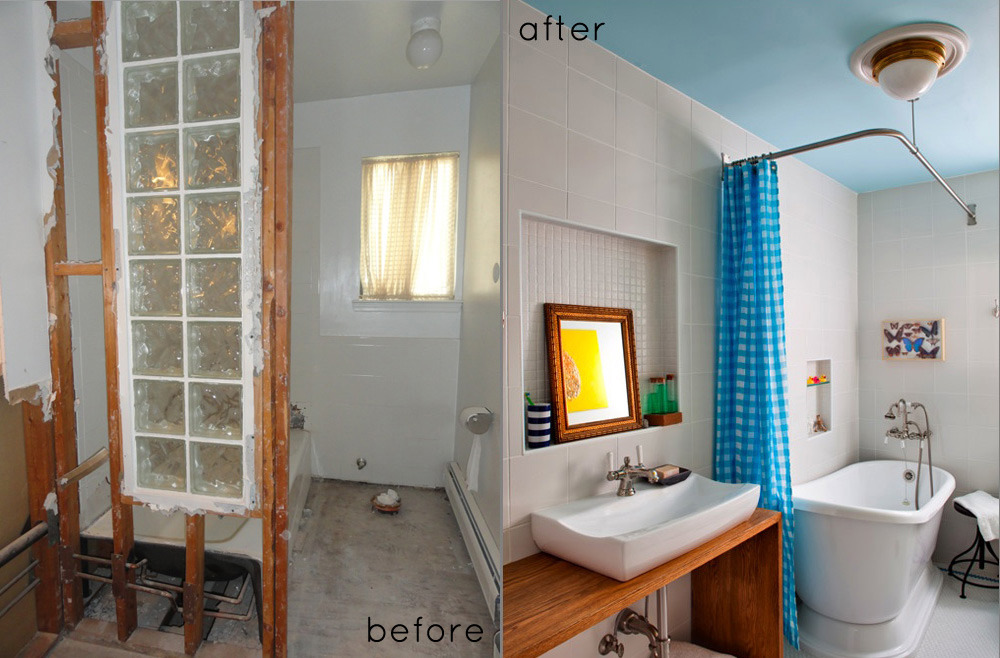 A Bathroom Before + After! Is there anything more satisfying than a successful DIY project? We're loving this bathroom make over project; the nautical blues and preserved butterflies are igniting our design imagination. Full report here. (Photos via Design*Sponge)