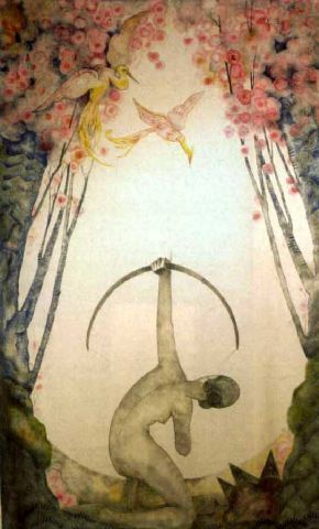 drunkcle:  Nude kneeling woman taking aim at a bird of paradise. A tapestry by André Collot (1925).