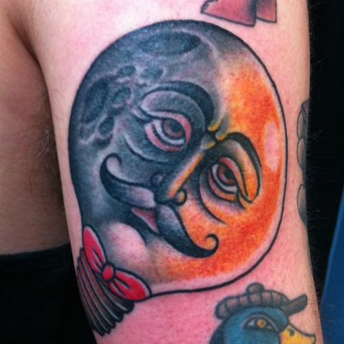 salvationtattoo:  The man in the moon in a lightbulb. Magical cross over, thanks Bartosz! — Joel