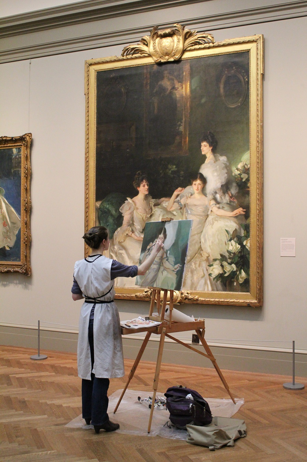 Artist Maud Taber-Thomas at the MET copying Sargent's The Wyndham Sisters photo by Xueli Zheng
