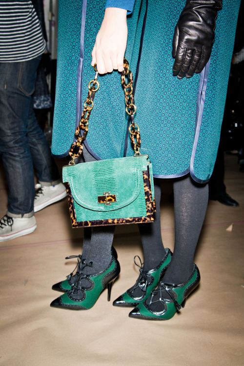 We love Tory Burch's turquoise and tortoise lady bag and two-tone oxfords. Want to see more? Check out tons of gorgeous fall 2012 handbags and shoes on Glamour.com.