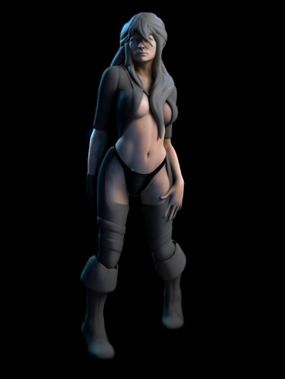 Here a quick posing, and clothing test, to see if I was too far off interesting proportions. I've started sculpting this female basemesh in Mudbox for the Armed and  Dangerous challenge at CGtalk ( Mudbox based challenge ). It's still really early in the  detailling process, trying to nail proportion first.