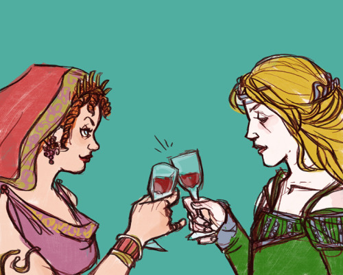 glockgal:  [image: fanart by glockgal. Atia of the Julii from Rome and Cersei Lannister from A Song of Ice and Fire crossover. The women clink glasses of wine, both looking speculative in their own way.] Drawble prize for kyrodontas! Who asked for:  atia from rome and cersei from ASOIAF interacting … somehow, though preferably in some amiable manner. if they ever met, they'd most certainly butt heads, but i love them scheming ladies - and scheming ladies scheming together even more so!   AJHSDJHS THIS REQUEST IS AWESOME. SO MUCH AWESOME. I just hope I did it justice fffff.