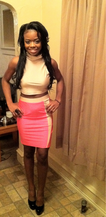 What I'm wearing; LQS Laquan Smith Spring 2012 Collection,(top&skirt) paired with black YSL Tribute platform pumps & black amor ring from Topshop
