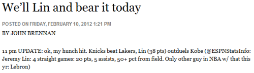 We'll Lin and bear it today  NorthJersey.com