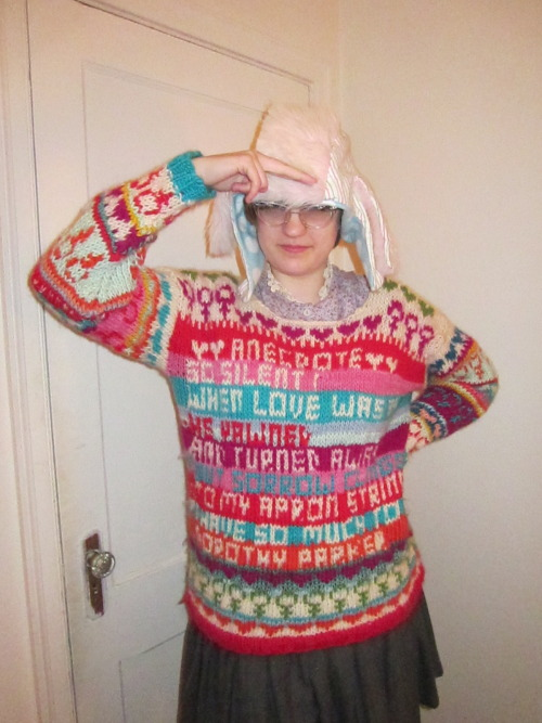 ourcatastrophe:  katydidnot:  BEHOLD YOUR ALMIGHTY SWEATER OVERLORD ps i made that hat too  !!!!!!!!!!!!!!!!!