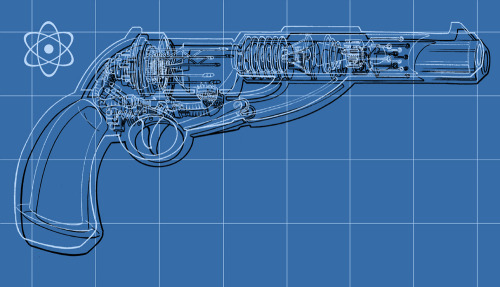 Ray gun blue-print design.