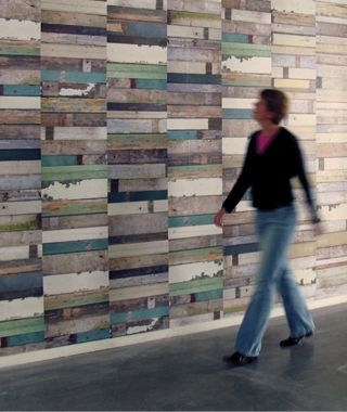 "Pallet repurposing, continued: Pallet wood used as wall covering. How-to / DIY details: Grand Design Reminds me of Piet Hein Eek's ""scrapwood wallpaper"" (mentioned here), which is laid out vertically in a more staggered arrangement. Another reclaimed pallet wood wall application can be seen in the technology building on the Central Washington University campus (our post about it here)."
