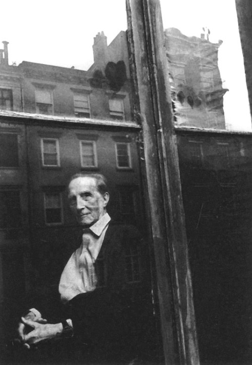 Marcel Duchamp at home, New York, 1962 -by Duane Michals  As I age, while I still have time, I yearn to know now, more than ever, my true self, that random and illusive thing, decorated with personality. We believe ourselves to be this kaleidoscope of passions and distractions. We are a brilliant and unknown moment, suspended between memory and anticipation, anxious in our uncertainties, and doomed to fade with our consciousness. How can such a mystery be photographed? What is left for us but amazement?— Duane Michals, in 'I Am Much Nicer Than My Face: and other thoughts about portraiture' - from Los Angeles Times (1989)  from PdP