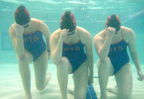Swim Team Tebowing with custom #15 bathing suits