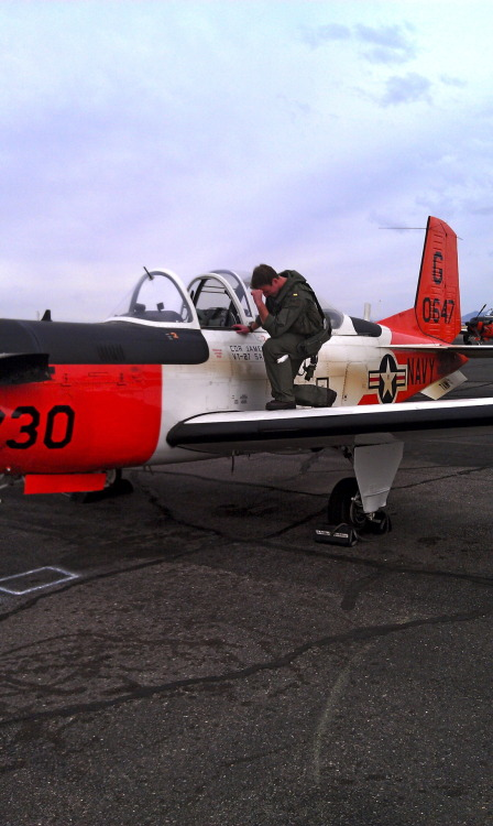 """Tebowing before my first solo flight."""