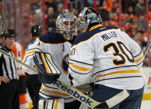 Enroth & Miller play musical goalies