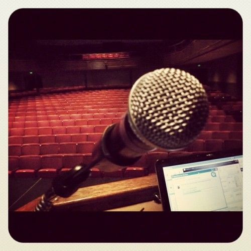 The hush of the auditorium… #preshow #postracialcomedytour (Taken with Instagram at Chapman University)