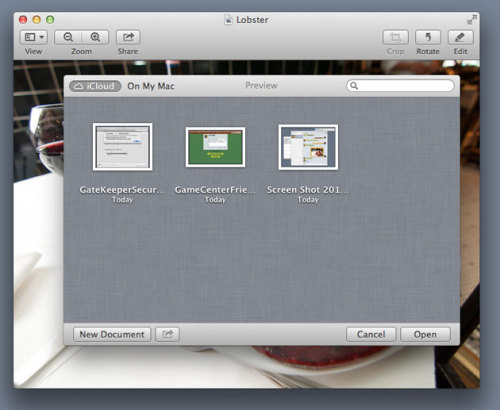 Sorry Apple but this Open Dialog Box for iCloud on the Mac won't scale well with more than a few dozen documents in iCloud. Try again please.