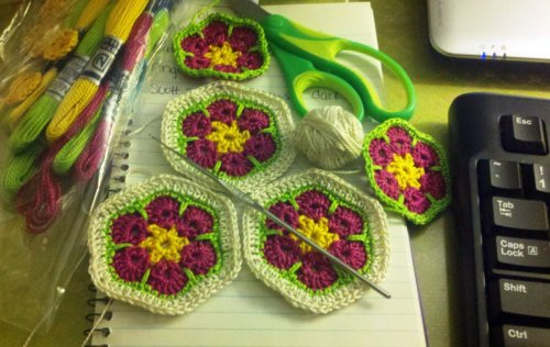 First attempt(s) at African Flowers.  PS I love this pattern.