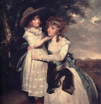 Miss Cocks and her Niece by Reynolds, c. 1789 The young girl is wearing a chemise a la reine, but I can't tell what's going on with Miss Cocks' dress!