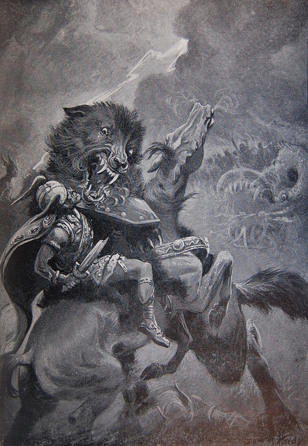 fuckyeahvikingsandcelts:  Odin and Fenris, by Dorothy Hardy by Thorskegga on Flickr.