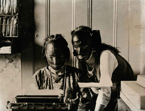 Rubber beauty masks, worn to remove wrinkles and blemishes, 1921