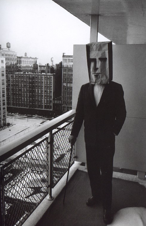"tamburina:  Saul Steinberg & Inge Morath Ogni dipintore dipinge se, a Renaissance maxim ran: every painter paints himself. Steinberg's peculiar achievement has been to render this maxim, pruned of all expressionist content. What obsessively concerns him is the idea that each drawing remakes its author: it is a mask. The self-made artist is one of his favorite motifs, and certainly his most famous one: a little man grasping the pen that draws him. In this ""self-portrait,"" artist and motif are fused, locked in a permanent logical impossibility that is also an ambition of poetry: Myself I will remake."