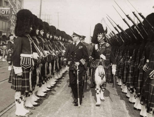 Prince Edward of Wales Scottish Regiment in their famous uniforms, Vancouver, Canada, 1919