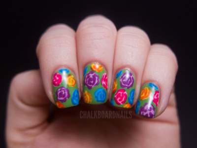 chalkboardnails:  Bright Rose Pattern  Love the colors