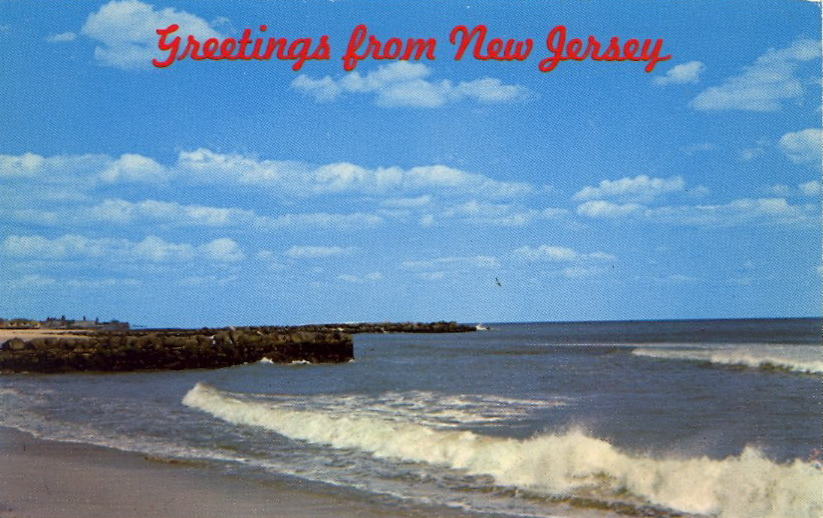 GREETINGS FROM NEW JERSEY  NEW JERSEY SEASHORE WAVES, BLUE SKY, CLOUDS, MAKE A PERFECT DAY AT THE JERSEY SHORE