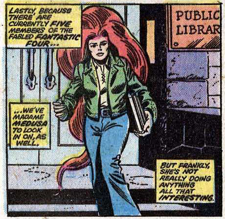 (via Bully Says: Comics Oughta Be Fun!)  Panel from Fantastic Four #158 (May 1975), script by Roy Thomas, pencils by Rich Buckler, inks by Joe Sinnott, colors by Janice Cohen, letters by Joe Rosen  [hair…]